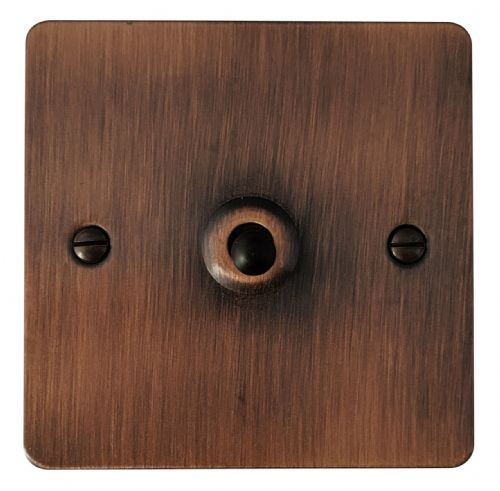 G&H FAC281 Flat Plate Antique Copper 1 Gang 1 or 2 Way Toggle Light Switch